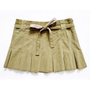 "Corduroy Tie Waist Pleated Flare Skirt 30""x 13.75"""